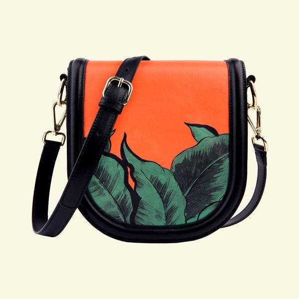 zina-de-plagny-crossbody-exotic-orange-printed-calf-leather-cuir-veau-imprimé-made-in-italy