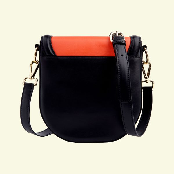 zina-de-plagny-crossbody-exotic-orange-back-printed calf-veau-imprimé-et-dos-uni-noir