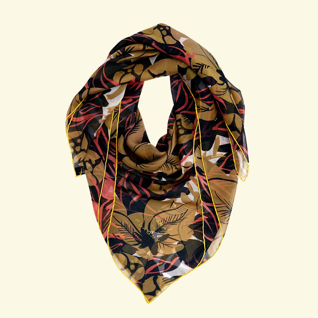 zina deplagny-scarf-silk-chiffon-fleurs-ochre