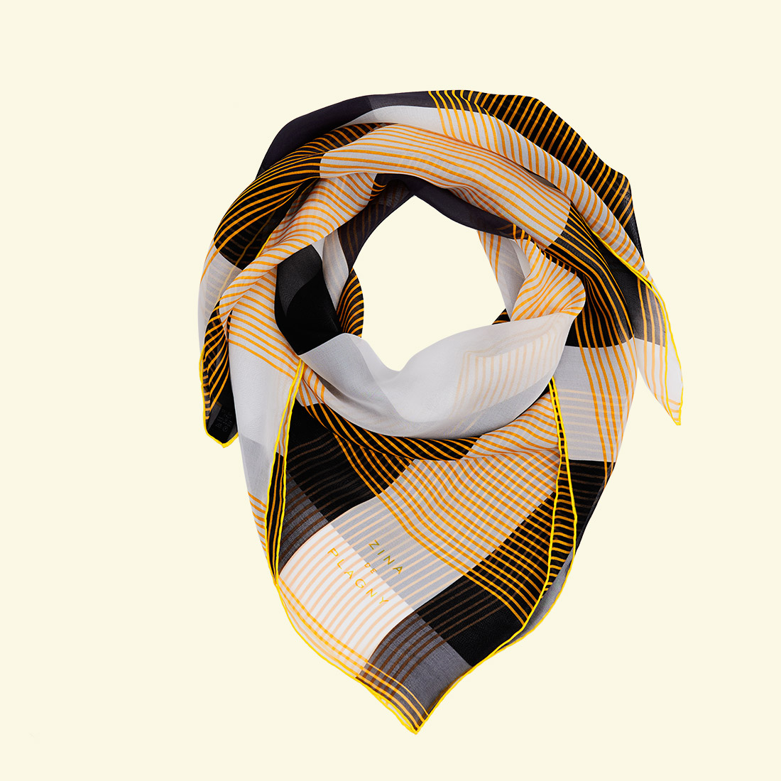 zina deplagny-scarf-silk-chiffon-yellow-tartan