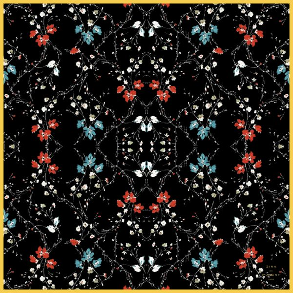 zinadeplagny-scarf-silk-chiffon-bunchesofflowers-on blackbackground